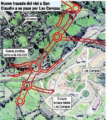 El Principado rechaza el trazado del vial que unirá Vallobín con San Claudio